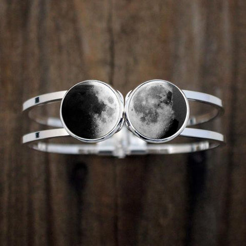Two Birth Moon Bracelet - Hinged Cuff Bracelets with Two 2 custom moon dates - Moon Phase Jewelry by Yugen Tribe