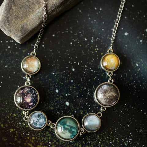 Double Sided Moons of the Solar System Necklace - Europa, Ganymede, Io, Callisto, Titan, Triton, Moon - Celestial Outer Space Jewelry Handmade by Yugen Tribe