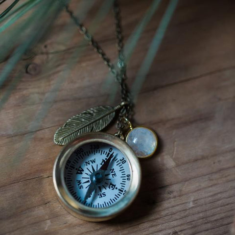 Compass Necklace with Rainbow Moonstone and Feather Charm - Travel Talisman - Protective New Age Jewelry by Yugen Tribe