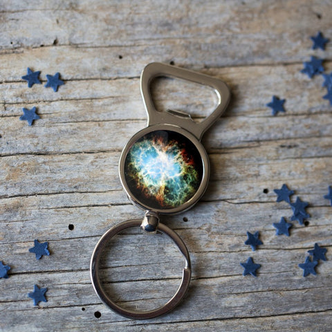 Bottle Opener Keychain with Custom Galaxy Image by Yugen Tribe