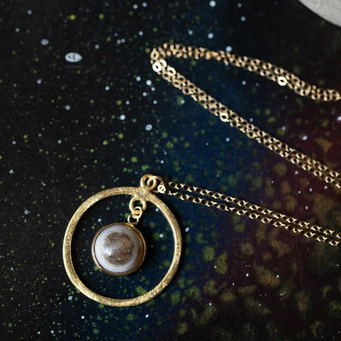 Rings of Saturn Necklace with Natural Stone - Limited Edition Celestial Handmade Jewelry by Yugen Tribe - Gold Planet Necklace