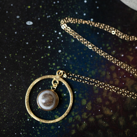 Rings of Saturn Necklace, Celestial Handcrafted Jewelry by Yugen Tribe - Limited Edition, 14k Gold with Natural Stones