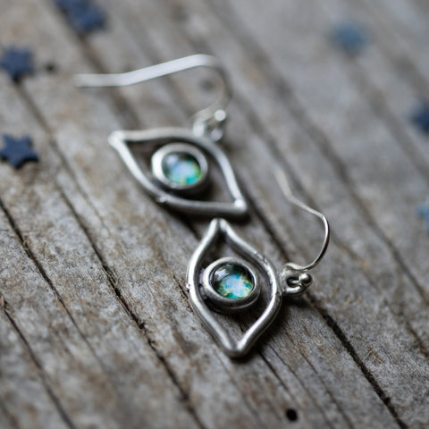 Eye of God, Evil Eye Earrings with Galaxy Image by Yugen Tribe - Celestial Cosmic Jewelry