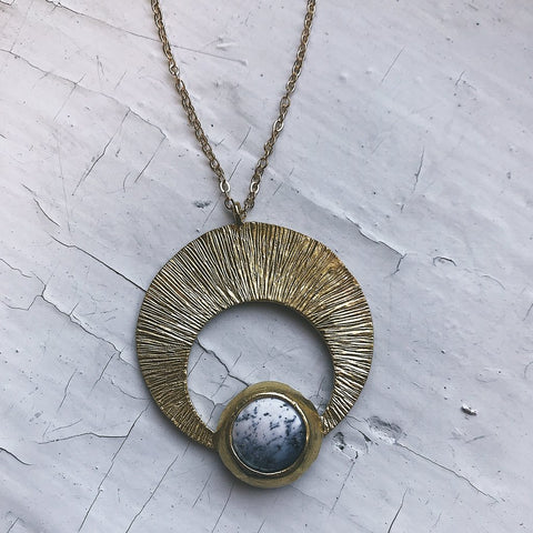 Crescent Pendant with Dendritic Agate - Black and White Gold Moon Necklace - Horn Necklace in Textured brass with natural stone by Yugen Tribe