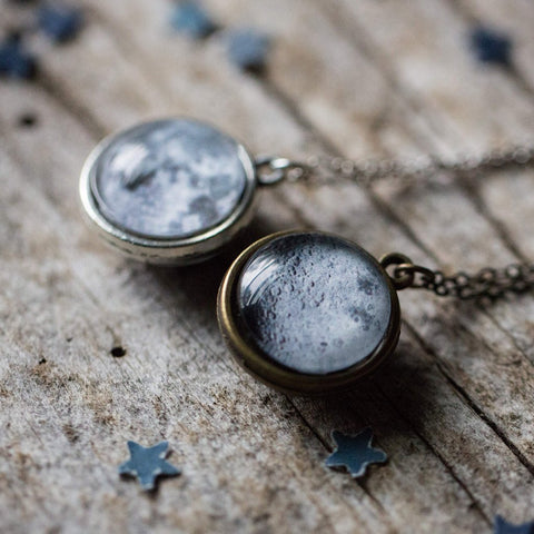 Double Sided Moon Necklace from Yugen Tribe - Handmade Celestial Accessories, Cosmic Galaxy Jewellery