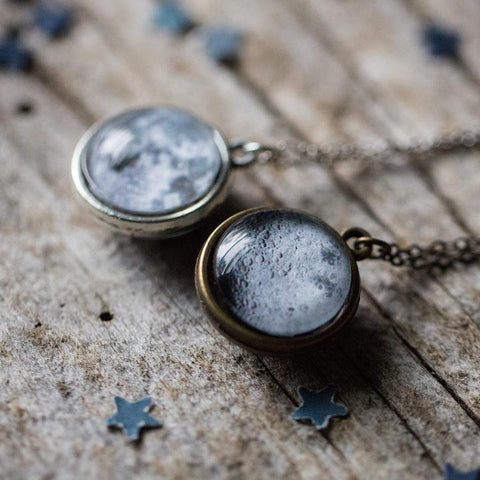 Double sided necklace with full moon and far side of the moon - Handmade lunar jewelry by Yugen Tribe