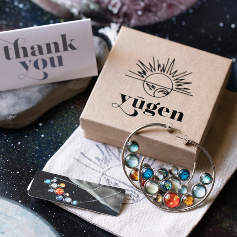 Solar System Hoops - Outer Space Hoop Earrings by Yugen Tribe, Handcrafted Celestial Jewelry with Gift Wrapping