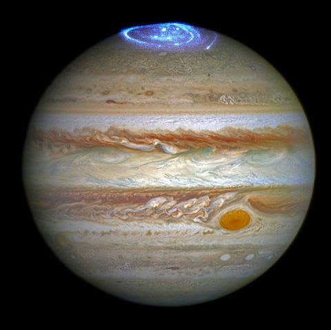 Jupiter Planet with auroras - photo credit NASA, ESA, and J. Nichols (University of Leicester)