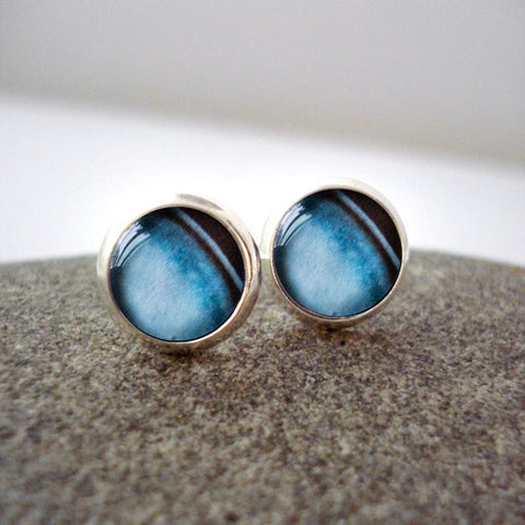 Uranus planet earrings, small silver outer space studs, solar system jewelry by yugen tribe