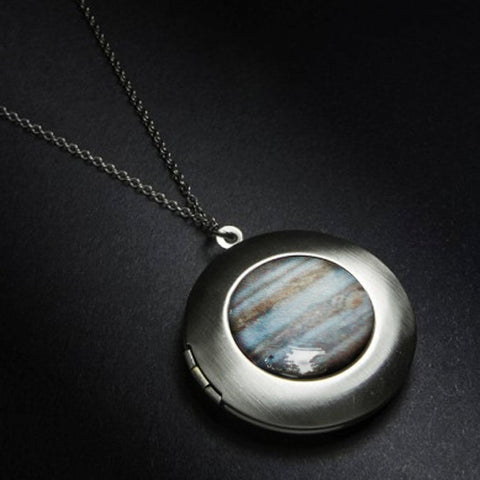 Jupiter Locket - Antique Silver Pendant Necklace with Planet - Galaxy Jewelry by Yugen Tribe - Celestial Jewellery, Cosmic Accessories