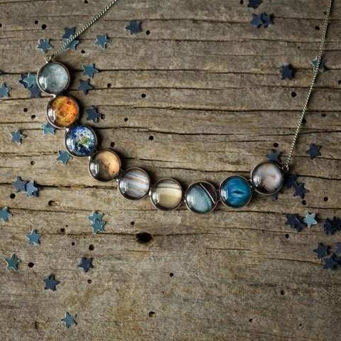 Solar system necklace with 9 planets, handmade galaxy jewelry by Yugen tribe