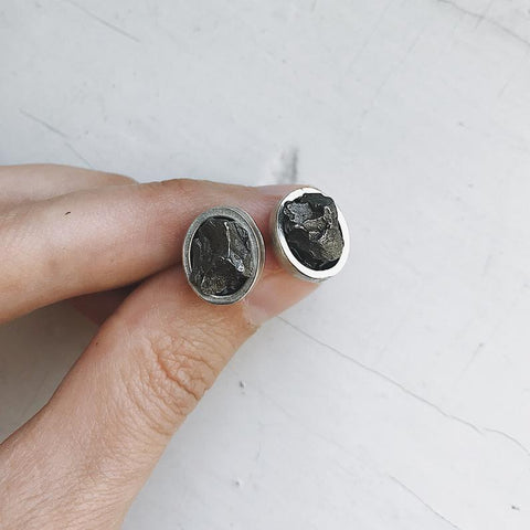 Authentic Meteorite Earrings - Oval Post Stud Earrings with Campo del Cielo Raw Space Rock, Real Meteorite Jewelry by Yugen Tribe