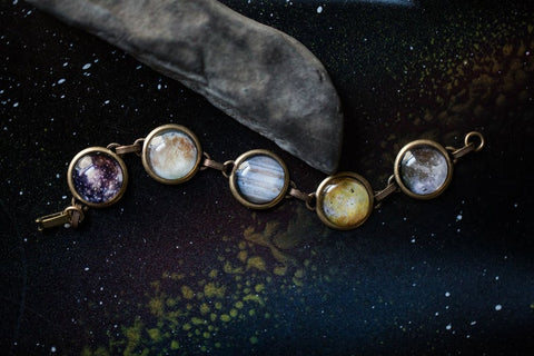 Galilean Moon Bracelet - Galaxy Planet Jewelry by Yugen Tribe, Handmade Outer Space Jewellery