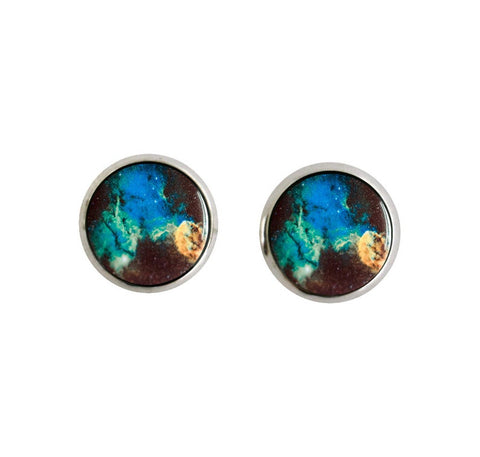 Jellyfish Nebula Small Silver Stud Earrings