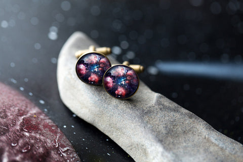 Galaxy Cufflinks with Cat Paw Nebula - Bear Paw Outer Space Cuff Links by Yugen Tribe - Space Wedding Gift