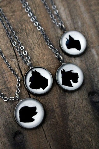 Dog Silhouette Cameo Necklaces by Yugen Tribe - Dog Breed Pendant Necklace
