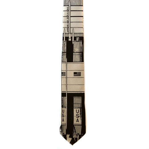 Skinny Tie with Saturn Rocket by Cyberoptix Lab - Yugen Tribe Space Accessories