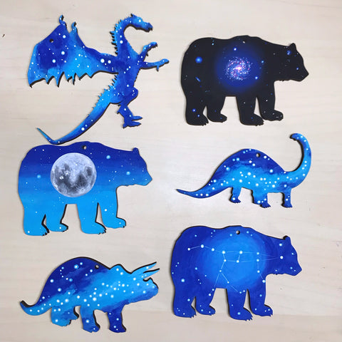 Animal cut outs painted with galaxy stars constellation nebula outer space
