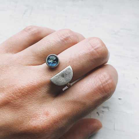 Earthrise Ring - Bill Anders Photo Inspiration, Cosmic Jewelry - Celestial Handmade Earth and Moon Ring by Yugen Tribe