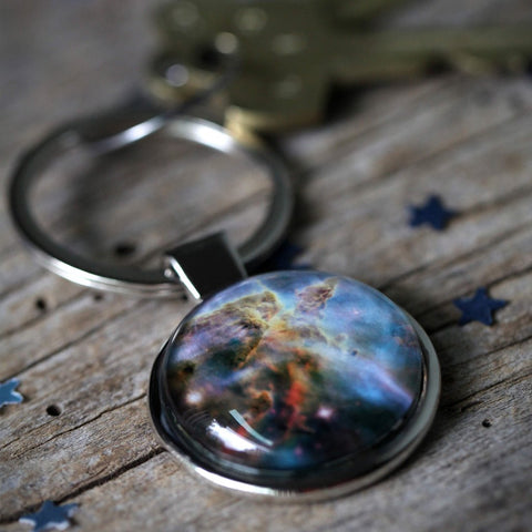 Custom Keychain with Celestial Galaxy Image of Planet Moon Nebula - Handcrafted Gifts by Yugen Tribe