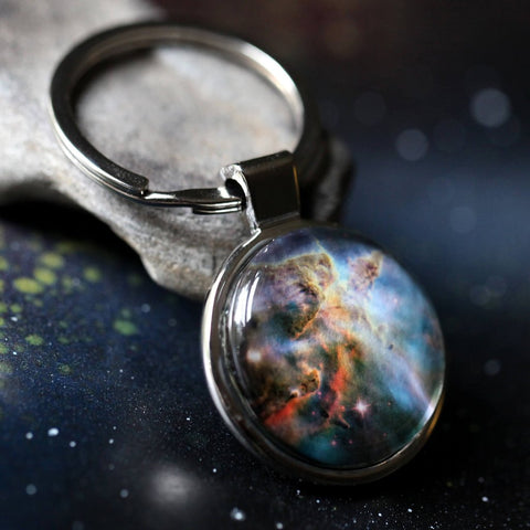 Galaxy Keychain with hubble image of Carina nebula by Yugen Tribe