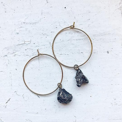 Meteorite Hoop Earrings - Raw Meteor Brass Jewelry by Yugen Tribe