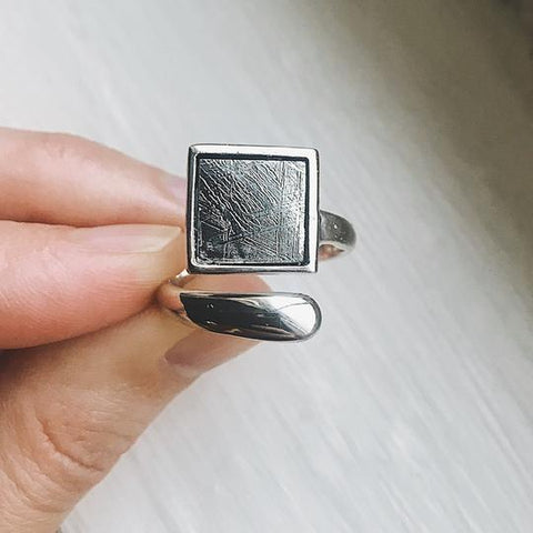 Muonionalusta Meteorite Ring - Square Meteor Sterling Silver Ring, Outer Space Celestial Jewelry by Yugen Tribe