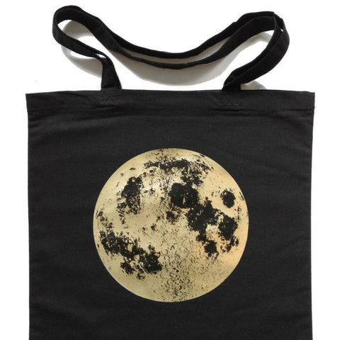 Full Moon tote bag, reusable shopping bag in black with gold lunar image at yugentribe.com