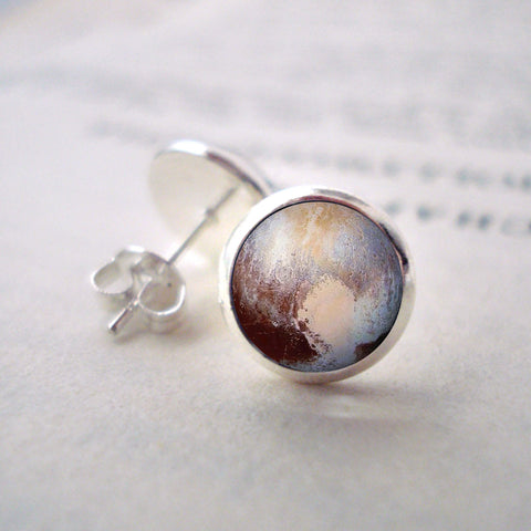 Pluto Stud Earrings - Small Silver Post Earrings with Planet Pluto by Yugen Tribe