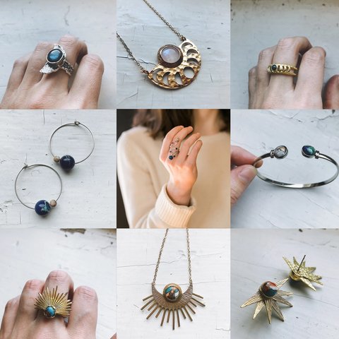 Handmade Outer Space Jewelry with Natural Stones by Yugen Tribe