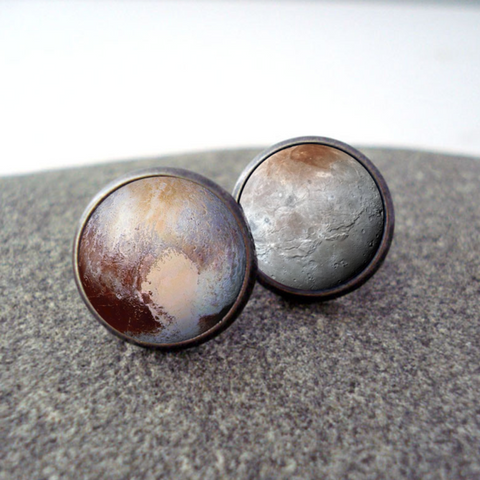 Pluto and Charon Earrings - Stud or Dangle - New Horizons Jewelry by Yugen Tribe - Celestial Jewellery, Planet Accessories