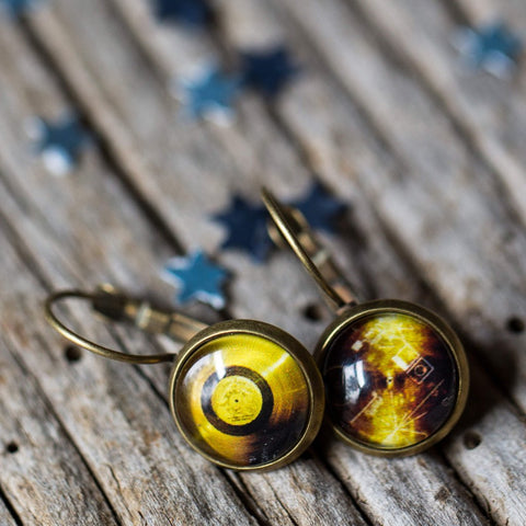 Voyager Golden Record Mis-Matched Earrings by Yugen Tribe - Space Exploration Jewelry
