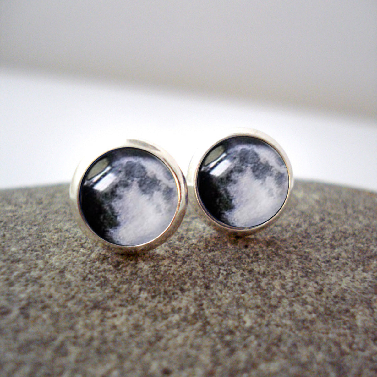 Custom moon phase post earrings - studs with personalized moons from birthday, anniversary, wedding, memorial, special occasion - handmade new age jewelry by yugen tribe