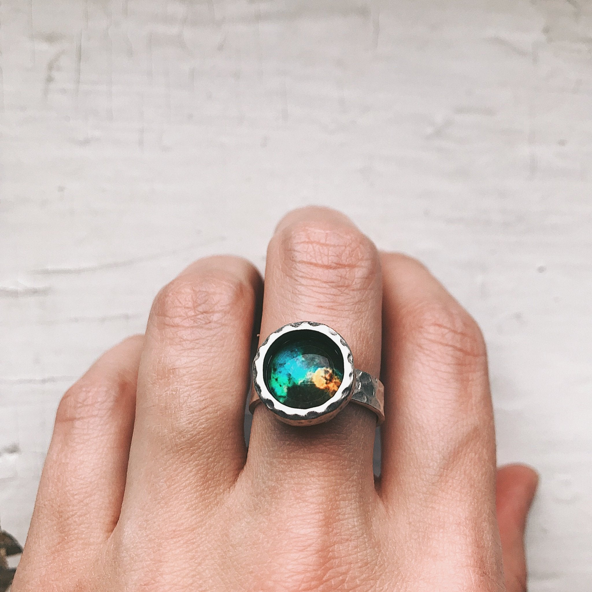 Hammered Adjustable Galaxy Space Ring - Yugen Tribe
