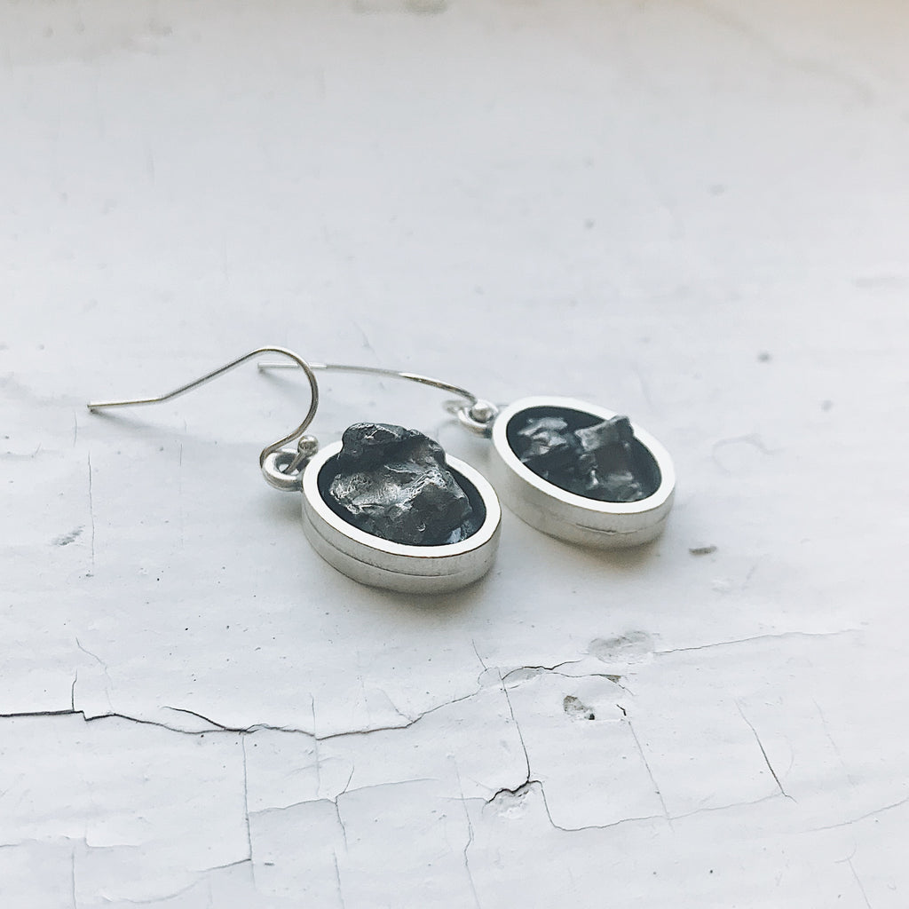 Oval Dangle Earrings with Raw Meteorite - Yugen Tribe