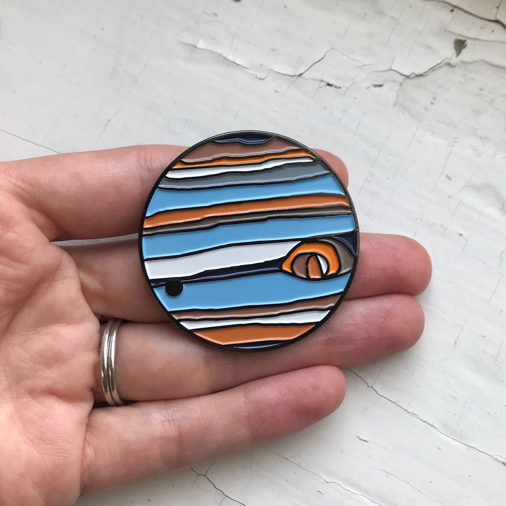 Jupiter Planet Enamel Pin - Planetary Enamel Pins, Lapel Pin, Brooch, Unisex Outer Space Gift - Solar System Enamel Pins by Yugen Tribe, Original Illustrations