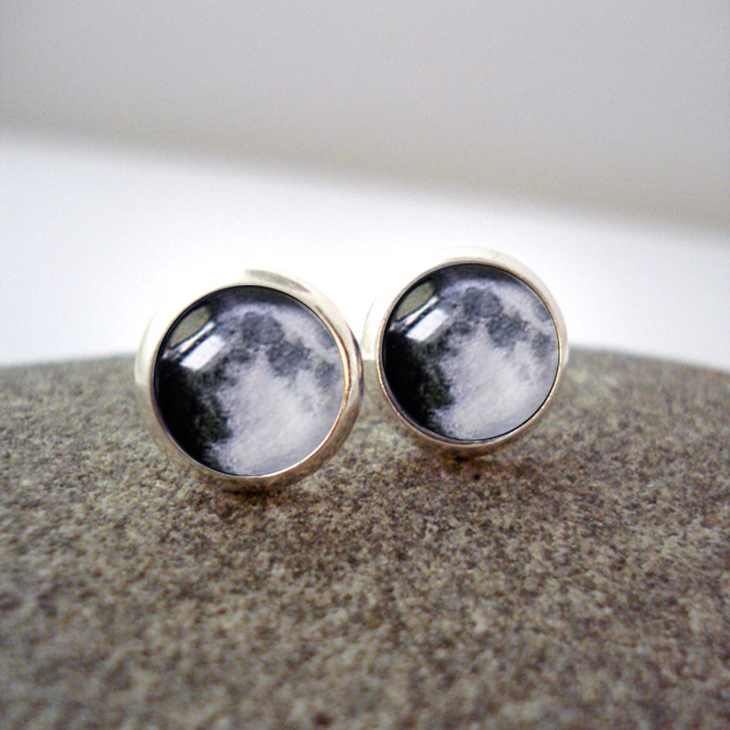 My Moon Custom Small Stud Earrings - Yugen Tribe