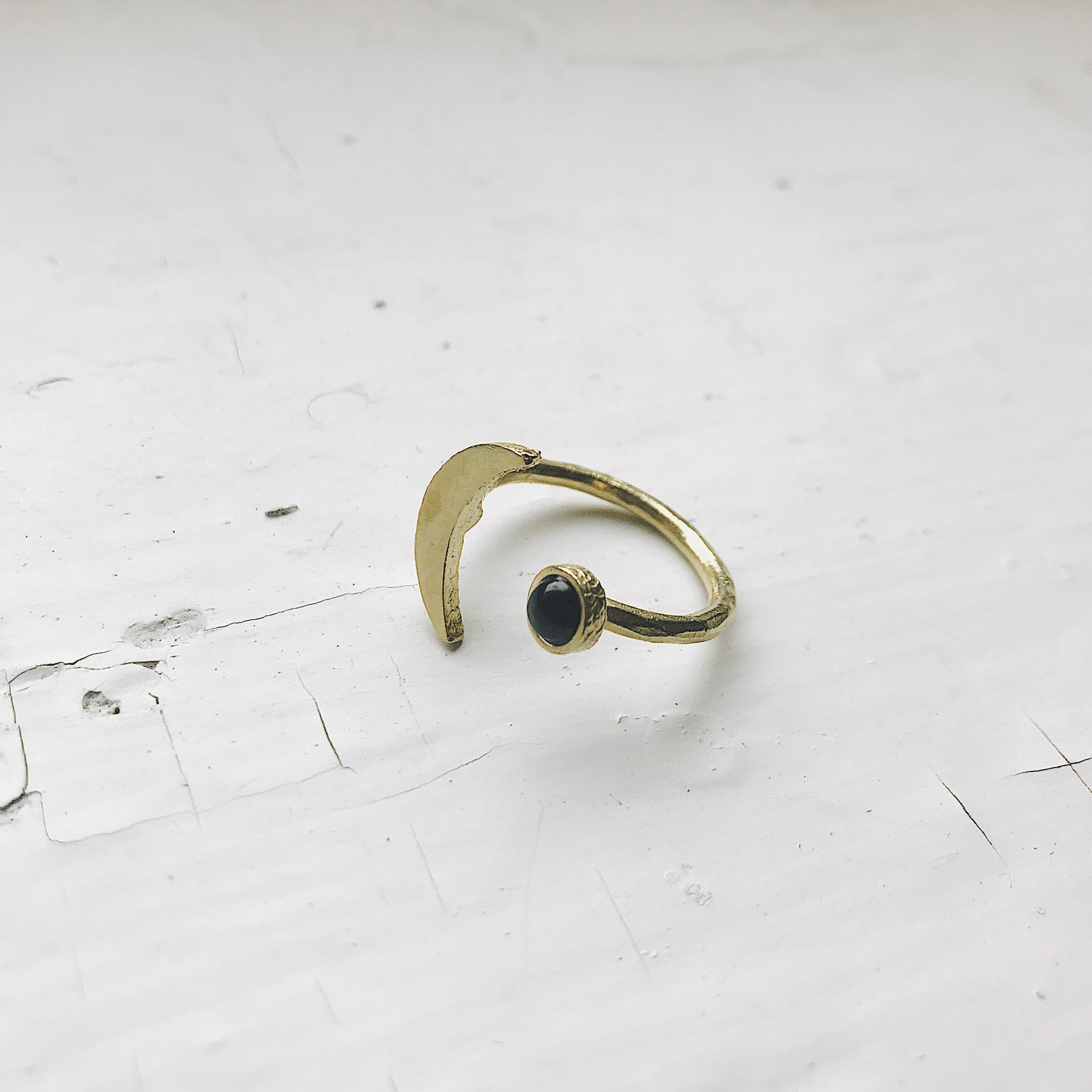Gold Crescent Moon Ring with Black Onyx
