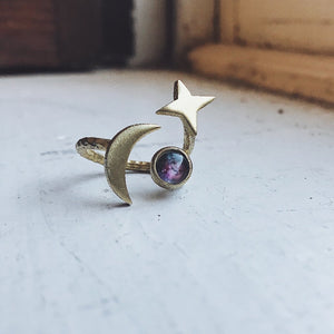 Stars and Moon Orbiting Galaxy Space Ring - Yugen Tribe