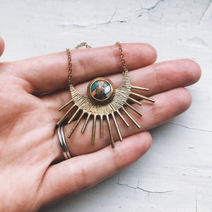Sun Goddess Necklace - Gold Sun Pendant with Copper Oyster Turquoise - Yugen Tribe