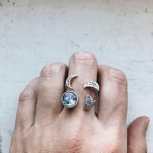 Artistic bohemian sculptural phases of the moon ring - Moon jewelry, handmade galaxy outer space jewellery by Yugen Tribe