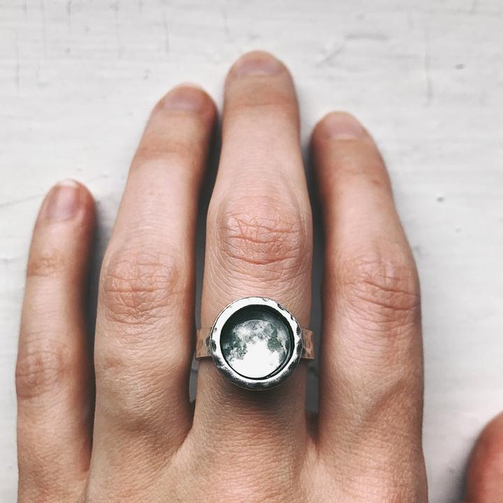 Custom Birth Moon Ring - Moon Date Jewelry - Birthday, Wedding Anniversary, Memorial - Custom Moon Phase Jewellery by Yugen Tribe