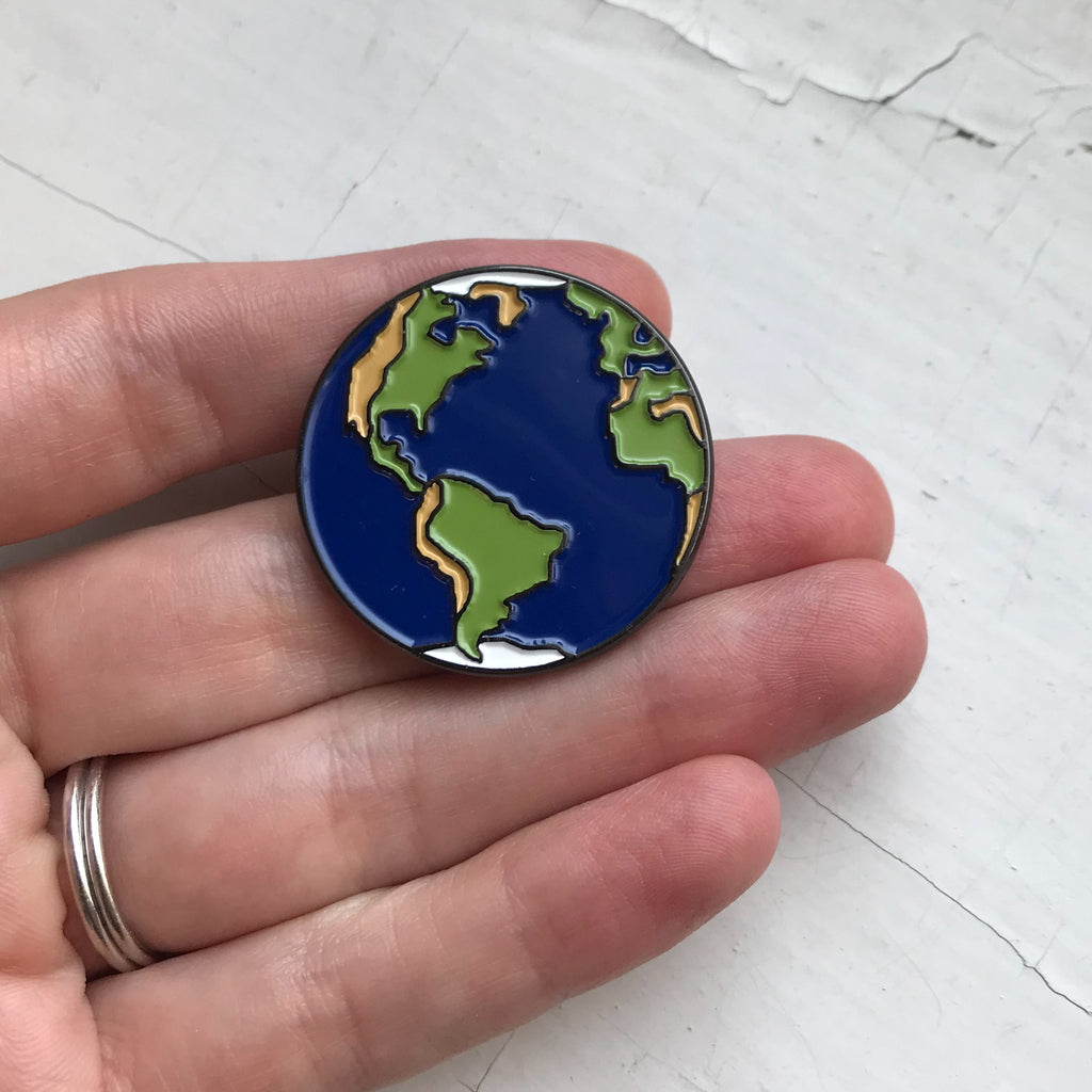 Earth Enamel Pin - Planetary Enamel Pins, Lapel Pin, Brooch, Unisex Outer Space Gift - Solar System Enamel Pins by Yugen Tribe, Original Illustrations