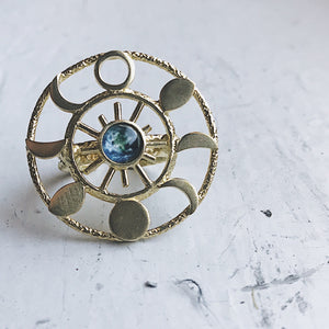 Large Gold Moon Phase Statement Cocktail Ring - Yugen Tribe