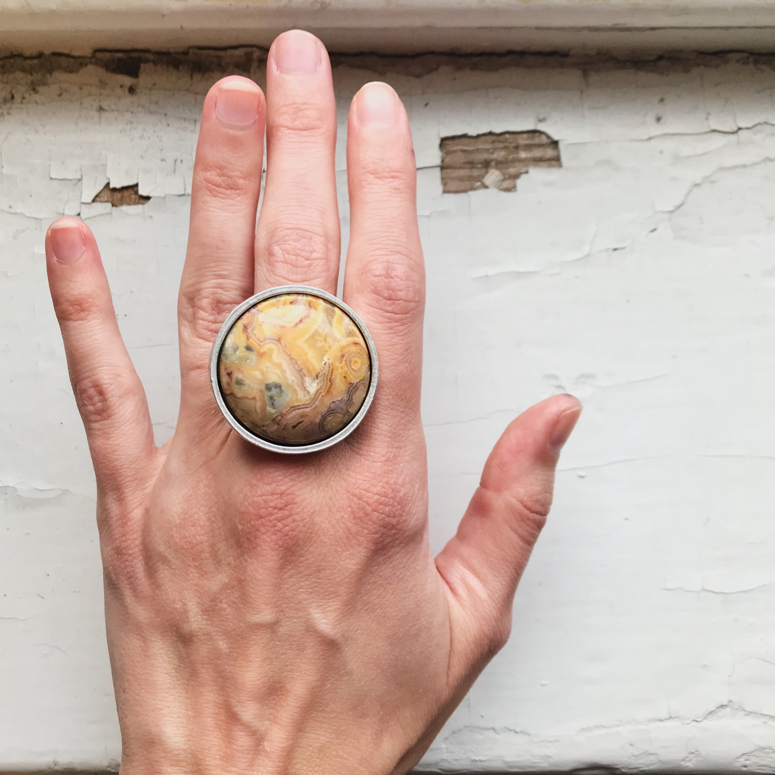 Large cocktail statement ring with round stone - colorful yellow gold crazy lace agate - Bohemian jewelry inspired by nature handmade by Yugen Tribe