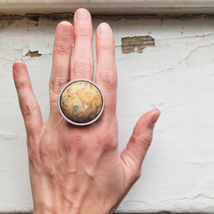 Saturn Surface Ring - Large Round Crazy Lace Agate Ring - Yugen Tribe