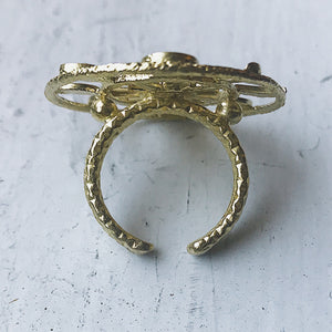 Large gold round cocktail ring with moon phases and earth - Lunar phase jewelry, cosmic accessories handmade by Yugen Tribe