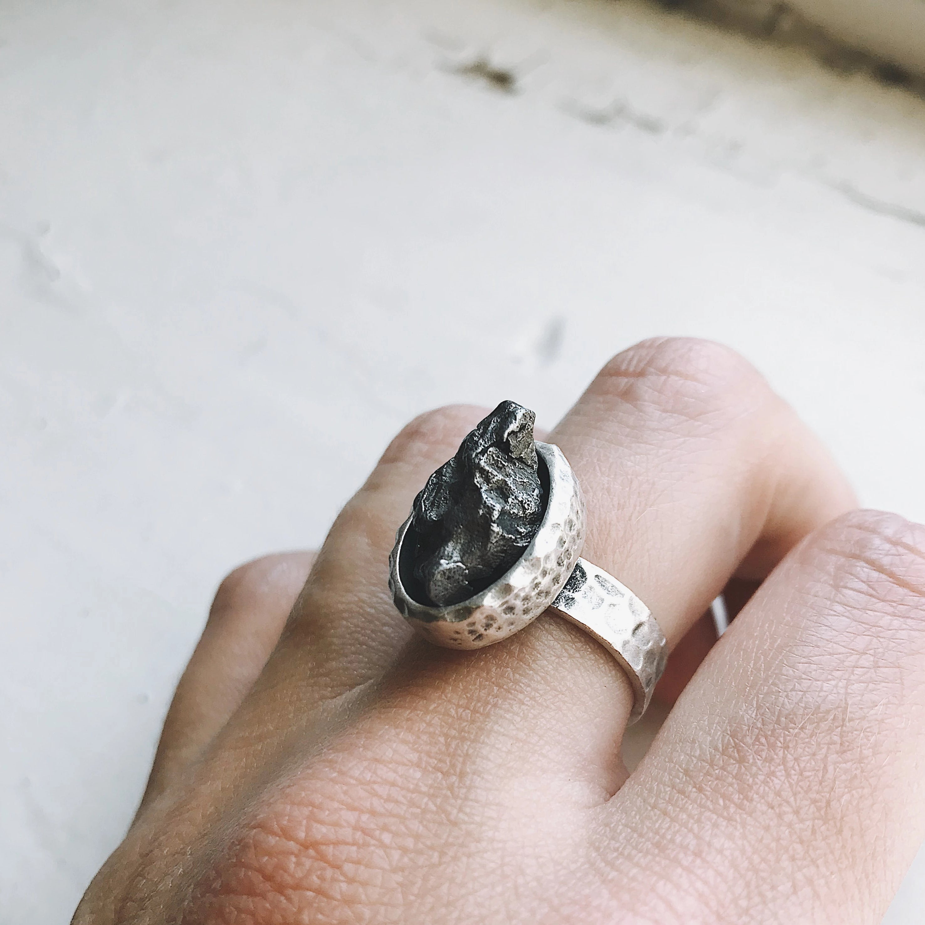 Oval Raw Meteorite Ring in Silver