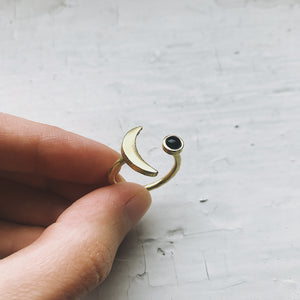 Crescent Moon Ring with Black Onyx - Yugen Tribe