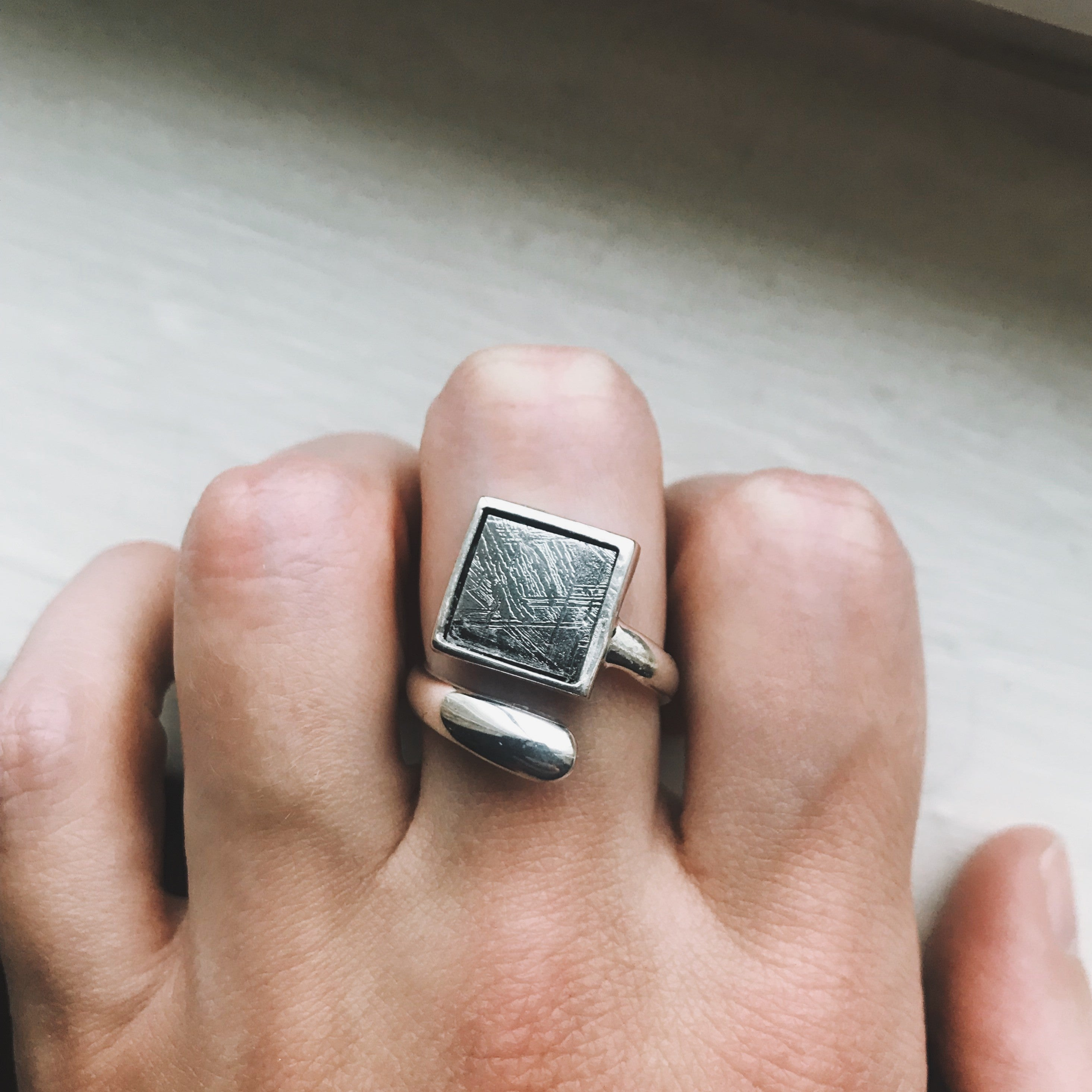 Muonionalusta Meteorite Square Sterling Silver Ring - Yugen Tribe
